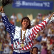 A teen prodigy, Jennifer Capriati truly announced herself on the world stage by winning gold at the 1992 Barcelona Olympics, defeating Steffi Graf in the final; Getty Images