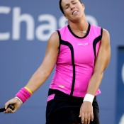 2004 proved to be the last year on tour for Capriati, who eventually succumbed to a persistent shoulder injury. Here she is snapped in her 6-0 2-6 7-6(5) semifinal loss to Elena Dementieva at that year's US Open, yet another dramatic match that would be her last at Grand Slam level; Getty Images