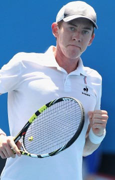 John-Patrick Smith in action during the Australian Open 2015 Play-off final; Getty Images
