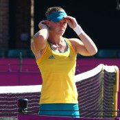 Sam Stosur prepares for her practice session ahead of the 2012 London Olympic Games at Wimbledon in London, England; Getty Images