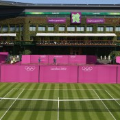 A view of how the All England Club at Wimbledon will look during the Olympic tennis event in London, with Bernard Tomic practising in the background; Getty Images