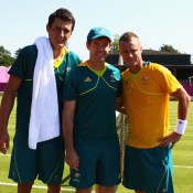 (L-R) Bernard Tomic, Head of Professional Tennis Todd Woodbridge and Lleyton Hewitt following the Australian team's practice session ahead of the 2012 London Olympic Games at Wimbledon; Getty Images