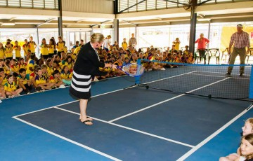 John Fitzgerald plays MLC Tennis Hot Shots at Nightcliff PS, Darwin, 2012.