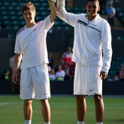 Aussies Andrew Harris (L) and Nick Krygios won their second Grand Slam junior boys' doubles title, their straight-set win at Wimbledon over Italians Matteo Donati and Pietro Licciardi coming a month after they won the boys' title at Roland Garros; Getty Images