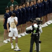 In an emotional trophy presentation following the men's singles final at Wimbledon, runner-up Andy Murray broke down in tears as he addressed his home crowd; Getty Images