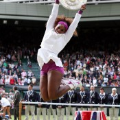 Serena Williams jumps for joy after capturing her fifth ladies' singles title at Wimbledon; Getty Images