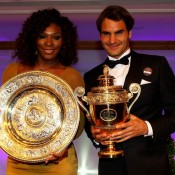 Wimbledon singles champions Serena Williams (L) and Roger Federer pose with their trophies at the Wimbledon Championships 2012 Winners Ball at the InterContinental Park Lane Hotel in London, England; Getty Images