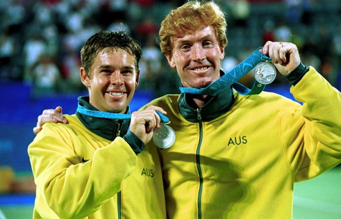 Silver medalists Mark Woodforde and Todd Woodbridge of Australia during the doubles medal ceremony Sydney 2000 Olympic Games; ALLSPORT