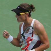 Sam Stosur urges herself on during a high-quality quarterfinal battle against Venus Williams, which she ultimately lost in three sets. Despite the result, it was a welcome upswing in form for the Aussie, and her best tournament result since the French Open; Getty Images
