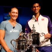 NEW YORK, NY - AUGUST 23:  Novak Djokovic (R) of Serbia and Samantha Stosur (L) of Australia smile during the Draw Ceremony prior to the start of the 2012 U.S. Open at the USTA Billie Jean King National Tennis Center on August 23, 2012 in the Flushing neighborhood, of the Queens borough of New York City.  (Photo by Chris Trotman/Getty Images for USTA)
