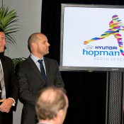 Paul Kilderry (R) and Hopman Cup's Sam McManus at media conference in Perth to announce the first players to be confirmed for Hopman Cup 2013; Credit: Jody D'Arcy