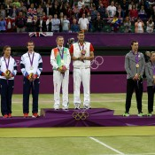 (L-R) Silver medallists Laura Robson and Andy Murray of Great Britain, gold medallists Victoria Azarenka and Max Mirnyi of Belarus and bronze medallists Mike Bryan and Lisa Raymond of the United States pose with their medals during the mixed doubles medal ceremony; Getty Images