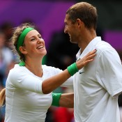 Victoria Azarenka (L) and Max Mirnyi of Belarus celebrate winning gold in the mixed doubles gold medal match at the London 2012 Olympic Games; Getty Images