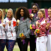(L-R) silver medallists Andrea Hlavackova and Lucie Hradecka of Czech Republic, gold medallists Serena and Venus Williams of the United States and bronze medalists Maria Kirilenko and Nadia Petrova of Russia during the women's doubles medal ceremony at the London 2012 Olympic Games; Getty Images