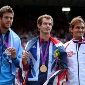 (L-R) Bronze medallist Juan Martin Del Potro of Argentina, gold medallist Andy Murray of Great Britain and silver medallist Roger Federer of Switzerland pose during the medal ceremony for the men's singles tennis event; Getty Images