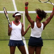 Venus Williams (L) and Serena Williams of the United States celebrate after defeating Andrea Hlavackova and Lucie Hradecka of Czech Republic in the women's doubles gold medal match at London 2012; Getty Images