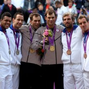 (L-R) Silver medallists Jo-Wilfried Tsonga and Michael Llodra of France, gold medallists Mike Bryan and Bob Bryan of the United States and bronze medallists Julien Benneteau and Richard Gasquet of France pose on the podium during the men's doubles medal ceremony at the London 2012 Olympic Games; Getty Images