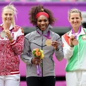 (L-R) silver medallist Maria Sharapova of Russia, gold medallist Serena Williams of the United States and bronze medallist Victoria Azarenka of Belarus pose on the podium during the medal ceremony for the women's singles event at London 2012; Getty Images