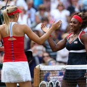 Serena Williams (R) of the United States shakes hands with Maria Sharapova (L) of Russia after defeating Sharapova 6-0 6-1 in the women's singles gold medal match at London 2012; Getty Images