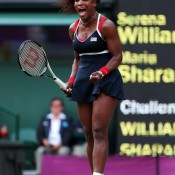 Serena Williams of the United States reacts after defeating Maria Sharapova of Russia to win the women's singles gold medal match at the London 2012 Olympic Games at the All England Club; Getty Images