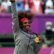 Women's singles gold medallist Serena Williams of the United States poses on the podium during the medal ceremony at the London 2012 Olympic Games at the All England Club; Getty Images