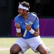Juan Martin del Potro of Argentina celebrates after defeating Novak Djokovic of Serbia for the bronze medal in the men's singles tennis event at the London 2012 Olympic Games; Getty Images