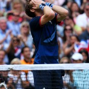 Andy Murray of Great Britain celebrates after defeating Roger Federer of Switzerland 6-2 6-1 6-4 in the men's singles Gold Medal Match; Getty Images