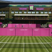 The All England Club is bathed in London 2012 Games colours ahead of the Olympic tennis event at Wimbledon; Getty Images