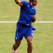 A colourful player to begin with, Frenchman Jo-Wilfried Tsonga ensured his clothing matched his game, celebrating in the French tricolor after defeating Canada's Milos Raonic in a second round epic; Getty Images