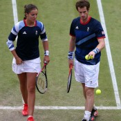 Inside on Centre Court, Brits Andy Murray (R) and Laura Robson don the colours of the Union Jack on their way through to the quarterfinals of the mixed doubles event at the Olympics; Getty Images