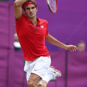 Federer, clad in the same red as that on the Swiss flag, did his fans proud with a straight-set win over Denis Istomin on Wimbledon's No.1 Court in the third round of the Olympic tennis event; Getty Images
