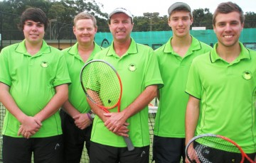 The 2012 Sydney Badge Tennis Competition Premier League Division winning team from Castle Hill, comprising (L-R) Cameron Smith, Robert Kilborn, Neil Smith, Jordan Smith and Blake Smith; Tennis NSW
