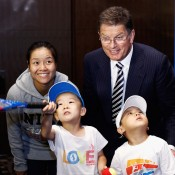 Li Na of China and Victorian Premier Ted Baillieu with fans playing tennis during the 2013 Australian Open Trophy Tour at the Beijing Grand Hyatt hotel on September 17, 2012 in Beijing, China; Getty Images
