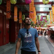 Janko Tipsarevic of Serbia takes a look at the Buddha Tooth Relic temple in Singapore's Chinatown during the ATP World Tour's promotion of it's Asian swing; Getty Images for ATP