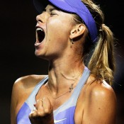 Maria Sharapova of Russia celebrates a winning point during her match against Heather Watson of Great Britain at the Toray Pan Pacific Open in Tokyo, Japan, which she eventually won in three gruelling sets; Getty Images