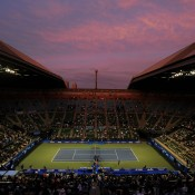Sunset over the Ariake Colosseum at the Toray Pan Pacific Open in Tokyo, Japan; Getty Images