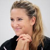 Victoria Azarenka of Belarus talks to the media during WTA