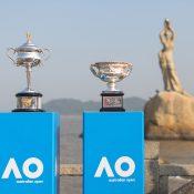 The Australian Open trophies.