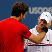 It seemed for a moment retiring American Andy Roddick could achieve the impossible at his home Grand Slam, but former champion Juan Martin Del Potro put an end to the fairytale in the four-set quarterfinal. Despite his victory, Del Potro gives Roddick a respectful moment at the net.