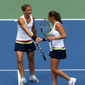 Italian doubles duo Sara Errani and Roberta Vinci have taken Flushing Meadows by storm this year, upsetting top 10 opponents to meet each other in the singles quarterfinal. While Errani got the better of her partner in that match, there was no bad blood between the pair, re-joining to celebrate a berth in the women's doubles final.
