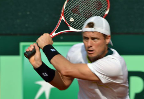 Lleyton Hewitt practices ahead of the Davis Cup World Group Play-off in Hamburg, Germany. TENNIS AUSTRALIA