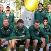 Australia's Junior Davis and Fed Cup teams in Barcelona. BACK ROW (L-R): captain Nicole Pratt, Naiktha Bains, Isabelle Wallace, Zoe Hives. FRONT ROW (L-R): captain Mark Woodforde, Harry Bouchier, Blake Mott, Thanasi Kokkinakis; Tennis Australia