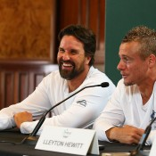 Pat Rafter (L) and Lleyton Hewitt speak with the media ahead of Australia's Davis Cup World Group Play-off tie against Uzbekistan; Getty Images