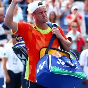 Lleyton Hewitt of Australia waves to the crowd after his men's singles third round match against David Ferrer of Spain on Day 7 of the 2012 US Open. Hewitt went down 7-6(9) 4-6 6-3 6-0; Getty Images