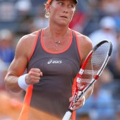 Sam Stosur celebrates a point during her women's singles fourth round match against Laura Robson of Great Britain on Day 7 of the 2012 US Open; Getty Images