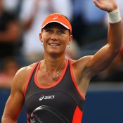 Although it got tense toward the end, Stosur was able to keep her concentration as Robson saved eight match points and finally converted on her ninth to win 6-4 6-4 and advance to the quarterfinals; Getty Images