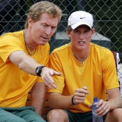 Mark Woodforde (L) and Harry Bouchier discuss tactics during the Junior Davis Cup world finals in Barcelona; photo Srdjan Stevanovic