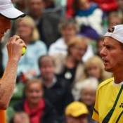 Lleyton Hewitt (left) and Chris Guccione, Davis Cup, Hamburg, 2012. TENNIS AUSTRALIA