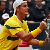 Lletyton Hewitt gets fired up, Hamburg, Davis Cup, 2012. TENNIS AUSTRALIA