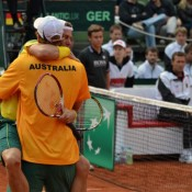 Game, set and match. Lleyton Hewitt and Chris Guccione celebrate the winning point. TENNIS AUSTRALIA